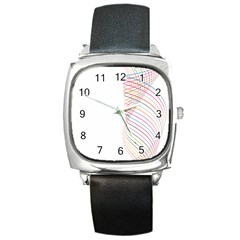 Line Wave Rainbow Square Metal Watch by Mariart