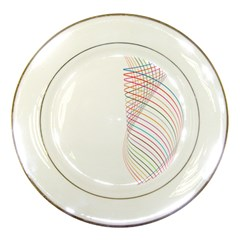 Line Wave Rainbow Porcelain Plates by Mariart