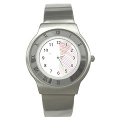 Line Wave Rainbow Stainless Steel Watch by Mariart