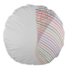 Line Wave Rainbow Large 18  Premium Round Cushions by Mariart
