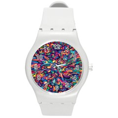 Moreau Rainbow Paint Round Plastic Sport Watch (m) by Mariart