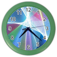 Light Means Net Pink Rainbow Waves Wave Chevron Green Blue Sky Color Wall Clocks