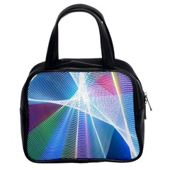 Light Means Net Pink Rainbow Waves Wave Chevron Green Blue Sky Classic Handbags (2 Sides) by Mariart