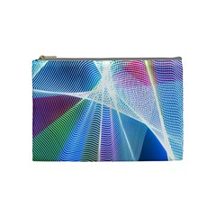 Light Means Net Pink Rainbow Waves Wave Chevron Green Blue Sky Cosmetic Bag (medium)  by Mariart
