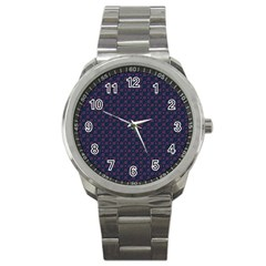 Purple Floral Seamless Pattern Flower Circle Star Sport Metal Watch