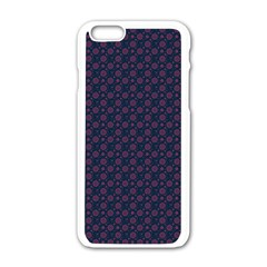Purple Floral Seamless Pattern Flower Circle Star Apple Iphone 6/6s White Enamel Case by Mariart