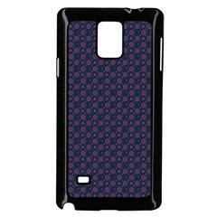 Purple Floral Seamless Pattern Flower Circle Star Samsung Galaxy Note 4 Case (black) by Mariart