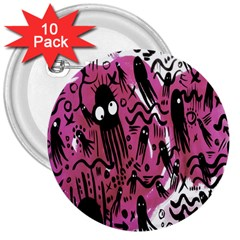 Octopus Colorful Cartoon Octopuses Pattern Black Pink 3  Buttons (10 Pack)  by Mariart