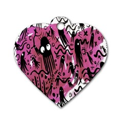 Octopus Colorful Cartoon Octopuses Pattern Black Pink Dog Tag Heart (one Side) by Mariart