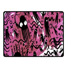 Octopus Colorful Cartoon Octopuses Pattern Black Pink Fleece Blanket (small) by Mariart