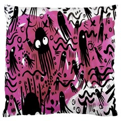 Octopus Colorful Cartoon Octopuses Pattern Black Pink Large Cushion Case (one Side) by Mariart