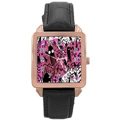 Octopus Colorful Cartoon Octopuses Pattern Black Pink Rose Gold Leather Watch  by Mariart