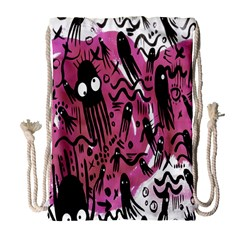 Octopus Colorful Cartoon Octopuses Pattern Black Pink Drawstring Bag (large) by Mariart
