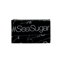 Sea Sugar Line Black Cosmetic Bag (small)  by Mariart