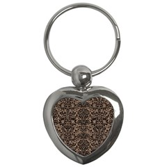 Damask2 Black Marble & Brown Colored Pencil (r) Key Chain (heart) by trendistuff