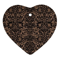 Damask2 Black Marble & Brown Colored Pencil (r) Heart Ornament (two Sides) by trendistuff