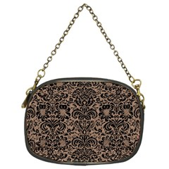 Damask2 Black Marble & Brown Colored Pencil (r) Chain Purse (two Sides) by trendistuff