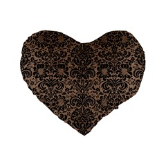 Damask2 Black Marble & Brown Colored Pencil (r) Standard 16  Premium Flano Heart Shape Cushion