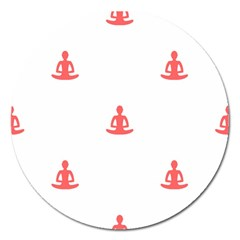 Seamless Pattern Man Meditating Yoga Orange Red Silhouette White Magnet 5  (round) by Mariart
