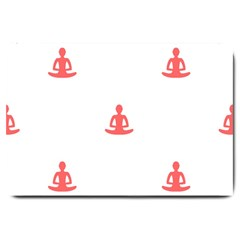 Seamless Pattern Man Meditating Yoga Orange Red Silhouette White Large Doormat  by Mariart