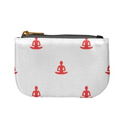 Seamless Pattern Man Meditating Yoga Orange Red Silhouette White Mini Coin Purses by Mariart