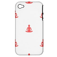 Seamless Pattern Man Meditating Yoga Orange Red Silhouette White Apple Iphone 4/4s Hardshell Case (pc+silicone) by Mariart