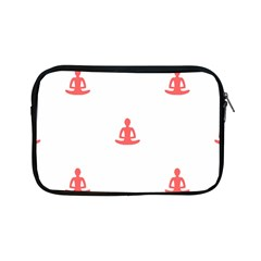 Seamless Pattern Man Meditating Yoga Orange Red Silhouette White Apple Ipad Mini Zipper Cases by Mariart