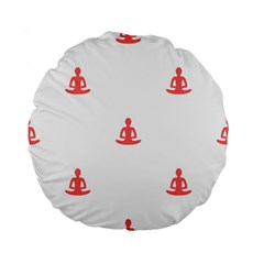 Seamless Pattern Man Meditating Yoga Orange Red Silhouette White Standard 15  Premium Flano Round Cushions by Mariart