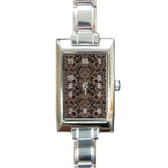 Damask2 Black Marble & Brown Colored Pencil Rectangle Italian Charm Watch