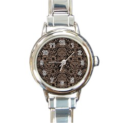 Damask2 Black Marble & Brown Colored Pencil Round Italian Charm Watch