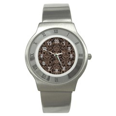 Damask2 Black Marble & Brown Colored Pencil Stainless Steel Watch by trendistuff
