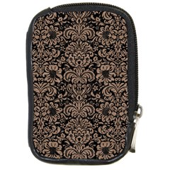 Damask2 Black Marble & Brown Colored Pencil Compact Camera Leather Case by trendistuff