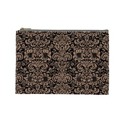 Damask2 Black Marble & Brown Colored Pencil Cosmetic Bag (large) by trendistuff