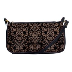 Damask2 Black Marble & Brown Colored Pencil Shoulder Clutch Bag by trendistuff