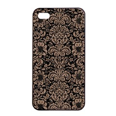 Damask2 Black Marble & Brown Colored Pencil Apple Iphone 4/4s Seamless Case (black) by trendistuff