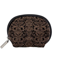Damask2 Black Marble & Brown Colored Pencil Accessory Pouch (small) by trendistuff