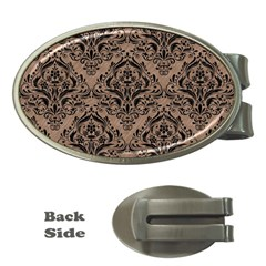 Damask1 Black Marble & Brown Colored Pencil (r) Money Clip (oval) by trendistuff