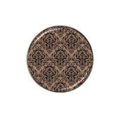 Damask1 Black Marble & Brown Colored Pencil (r) Hat Clip Ball Marker by trendistuff