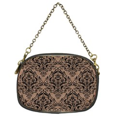 Damask1 Black Marble & Brown Colored Pencil (r) Chain Purse (two Sides) by trendistuff