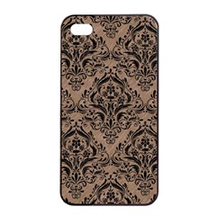 Damask1 Black Marble & Brown Colored Pencil (r) Apple Iphone 4/4s Seamless Case (black) by trendistuff