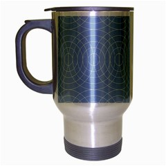 Seamless Lines Concentric Circles Trendy Color Heavenly Light Airy Blue Travel Mug (silver Gray) by Mariart