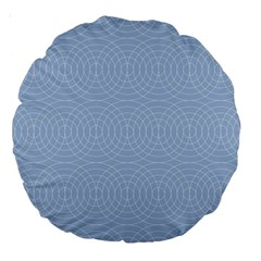 Seamless Lines Concentric Circles Trendy Color Heavenly Light Airy Blue Large 18  Premium Round Cushions by Mariart