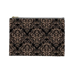 Damask1 Black Marble & Brown Colored Pencil Cosmetic Bag (large) by trendistuff
