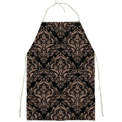 Damask1 Black Marble & Brown Colored Pencil Full Print Apron by trendistuff