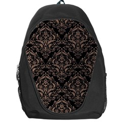 Damask1 Black Marble & Brown Colored Pencil Backpack Bag by trendistuff