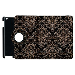 Damask1 Black Marble & Brown Colored Pencil Apple Ipad 2 Flip 360 Case