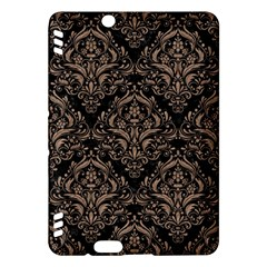 Damask1 Black Marble & Brown Colored Pencil Kindle Fire Hdx Hardshell Case by trendistuff