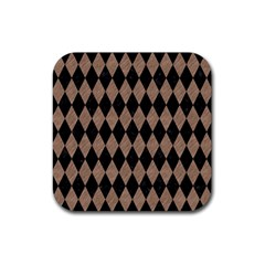 Diamond1 Black Marble & Brown Colored Pencil Rubber Square Coaster (4 Pack) by trendistuff