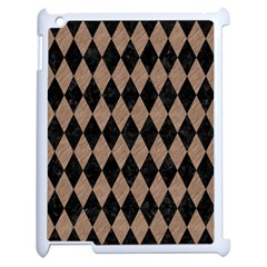 Diamond1 Black Marble & Brown Colored Pencil Apple Ipad 2 Case (white) by trendistuff