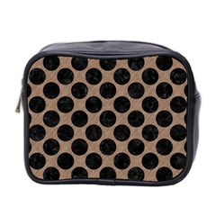 Circles2 Black Marble & Brown Colored Pencil (r) Mini Toiletries Bag (two Sides) by trendistuff